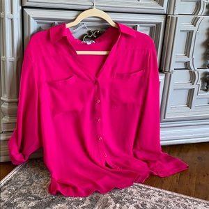 Fuchsia Portofino button-down blouse